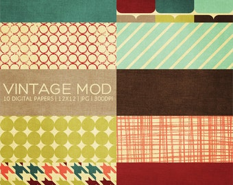 12x12 Digital Paper Collection - Vintage Mod - Great for Scrapbooking or Photographers - 10 Papers - PX8016 - Instant Download!