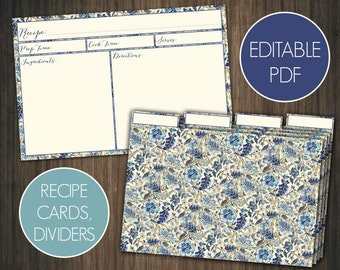 Blue floral Editable recipe cards divider 4x6 Recipe cards printable recipe cards 4x6 Printable recipe cards template recipe Shabby chic