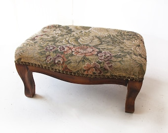 Vintage French small Footstool,  retro Foot stool, Louis XVI Style wood carved footstool, Flowered Tapestry, French boudoir
