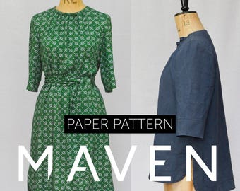 The Rochester Top and Dress sewing pattern,PAPER PATTERN,tunic pattern,womens paper pattern,top pattern,tunic pattern,dress pattern, sewing