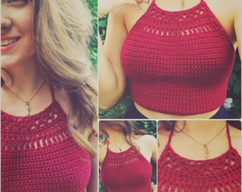 Maroon Sundial Crochet Crop Top
