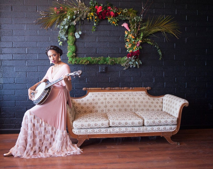 Tassel Fringe Bohemian Octopus Infinity Wrap Dress- Bella Luna Dress~ White or Blush Tassel- NO TRAIN, Vintage, 1920s Gatsby Wedding, Bride