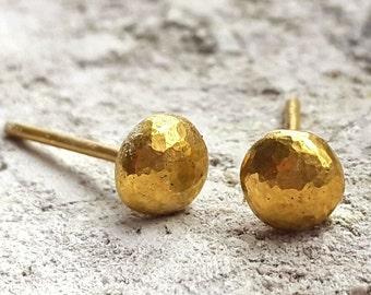 Pebble Rustic Studs, 22K Gold Stud Earrings, Gold Jewelry, Handmade, Minimalist Look, Anniversary Gift, 5mm Post Earrings, Venexia Jewelry