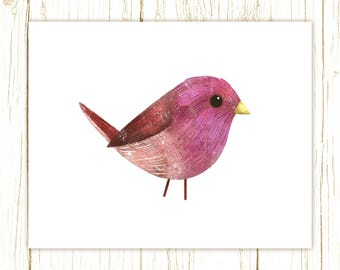 Purple Finch Print -- bird art -- colorful bird art by stephanie fizer coleman illustration