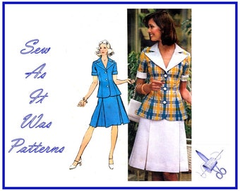 FF Unused 1970s Simplicity 5504 Large Notched Lapel Collar Jacket Invert Pleat Flared Skirt Suit Vintage Sewing Pattern Size 16 Bust 38 97cm