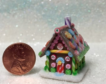 Dollhouse Miniature Fabulous Gingerbread House - Polymer Clay - Blythe - Cut Rock Candy - Old Fashioned Stick Candy