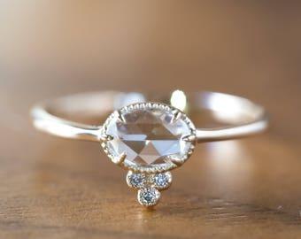 Rose cut diamond engagement ring in 14k yellow gold, Unique rose cut diamond ring, Antique inspired rose cut diamond ring