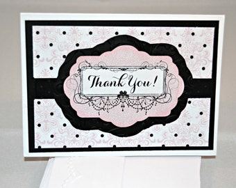 Pink Thank You Cards / Set of 4 Thank You Cards / Pink and Black Thank You Notes