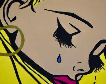 Sad girl pop art