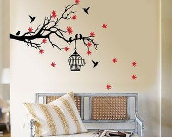 Tree Branch Blossoms with Birds and Birdcage Vinyl Wall Art Decal ( WD-157 )
