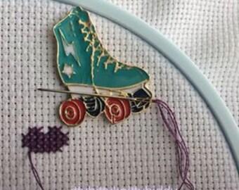 Roller Skate Derby Star Wheels  Rink Needle Minder Keeper Enamel Lapel Pin YOUR CHOICE