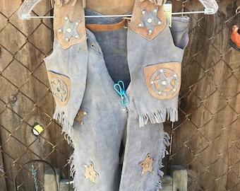 Vintage Blue and Tan Cowboy Costume