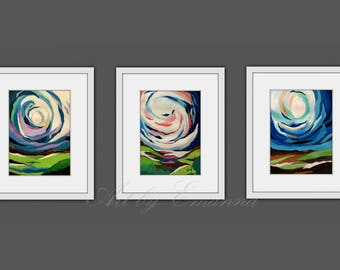 Printable Abstract Art, Instant Digital Download Art, Set of 3 Prints, Modern Art, Contemporary Art, Fine Art, Abstract Landscape Painting