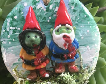Little Zombie Gnome Couple Christmas Ornament Have Yourself an Undead Little Christmas