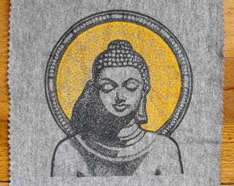 buddha meditation fabric patch yoga Buddhism art inspired DIY applique on clothing accessories craft projects upcycled t-shirt material