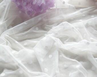 Gathered Swiss Dot Veil  Fabric, Soft Polka dot Tulle Fabric for Bridal, Veils, Curtain, Costume Design, Light Ivory