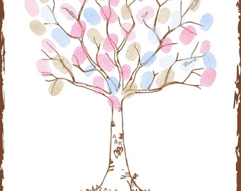 Wedding Tree Thumbprint Signature Guest Book Alternative