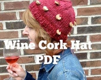 PDF Wine Cork Hat Knitting Pattern handspun art yarn Digital Download Rose Burgandy Merlot