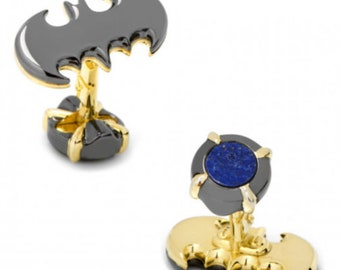 Sterling Silver Luxe Batman Cufflinks with 18k Gold and Lapis