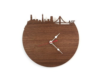Walnut Wall Clock - San Francisco Skyline Clock - Modern Walnut or Cherry Wood Wall Clock - Large Clock - Gift for Him