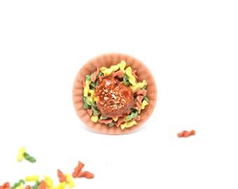 Tricolore fusilli ring,Pasta ring,Spaghetti ring,Food Jewelry,Italian cuisine ring,Miniature food ring