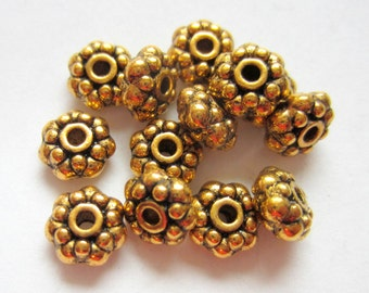 30 Antique gold beads  metal  spacer jewelry supply 8mm x 4mm lead free nickle free F0358y(X2),