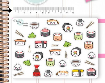 Kawaii Sushi Stickers Cute Sushi Stickers Japanese Food Stickers Planner Stickers Erin Condren Functional Stickers Decorative Stickers NR713
