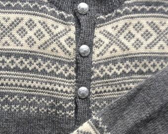 Vintage Heather Grey Wool Nordic Cardigan M