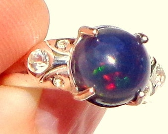 SALE, LARGE Black Welo Opal Ring, White Topaz, Natural Gemstones, Red, Blue, Green Color Play, Genuine Ethiopian Opal, Fine Jewelry