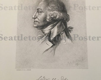 George Washington Print Reproduction Engraving from 1892 Century Gallery