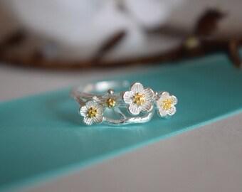 Adjustable Ring, Sterling Silver Adjustable Ring, Flower Ring, Flower Adjustable Ring, Sterling Silver Ring