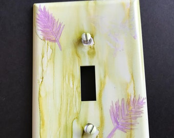Pale Green and Purple Ferny Leaves or Pine Needles- Handpainted Switch Plate