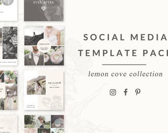 social media templates - lemon cove collection - easy to edit pinterest, facebook, and instagram templates