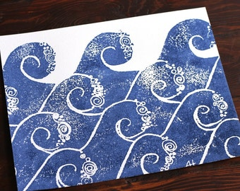 waves art print - hand-carved & printed waves (11 x 14 inches) color: navy blue