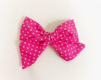Pink Polka Dot Oversized Elle Bow ~ Summer print bow