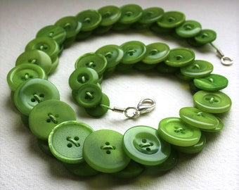 Lime Green Button Necklace Button Necklace Button Jewellery Button Jewelry UK Handmade Free UK Shipping