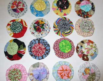 "Fabric YoYos, Multi Color, 1"" And 2"" Sizes, Crafting, Appliques, Embellishments"