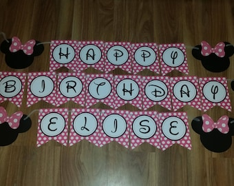 Minnie Mouse  Happy Birthday Personalized Name /Number 1st First Birthday Custom Made Smash Cake Photo Shoot Birthday Decor Wall Bunting set