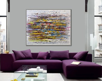 """Textured Palette Knife Modern Abstract Wall Art Painting Large Original Contemporary Art Hand Painted Heavy 60"""" 150cm XL"""