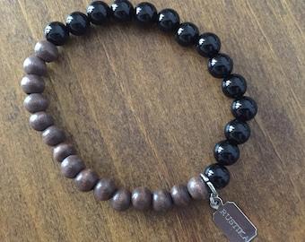 Black Onyx and Wood Bracelet