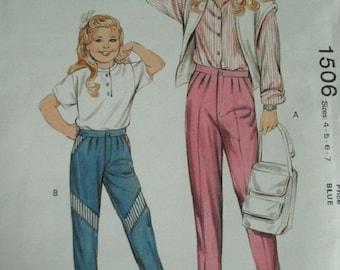 Girls' Pants Sizes 4-5-6-7 Kwik Sew Pattern 1506  - 1985