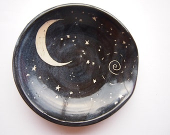 Spoon rest black with starry night design -  chef cooking utensil chef gift black spoonrest moon and stars design