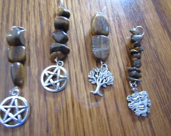 Tiger Eye Pendant Choice Pentacle, Tree of Life, Greenman