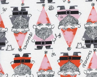 PRE-ORDER, Cotton and Steel, Sarah Watts, Front Yard, Gnomes in Red, White Fabric, Garden Gnome Fabric, Bee Fabric, 2069-02
