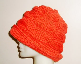 Hand Knitted Hat with Brim - Orange - Winter - Cloche - Cable Knit - Bucket - Fedora - Beanie