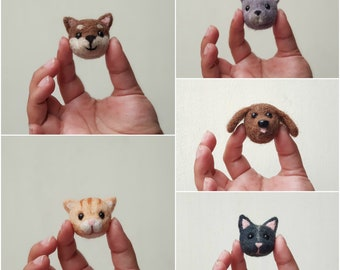 Broche de Perro o Gato de Lana en Fieltro con Aguja | Needle Felted Wool Brooch Cat/Dog