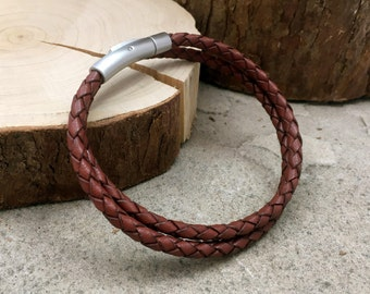 Men's Brown Leather Double Attexo Bracelet: Brown Leather Bracelet, Men's Bracelet, Wrap Bracelet, Man's Leather Bracelet, Gift for men