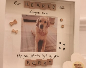 Our hearts will always wear the paw prints left by you - Pet Frame - Pet Memorial - Pet Loss - Personalised Pet Frame - Scrabble Frame