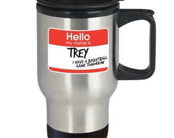 Hi my name is trey vine meme mug cup (travel) 16oz funny hi my name is trey i have a basketball game tomorrow viral clip gift merchandise
