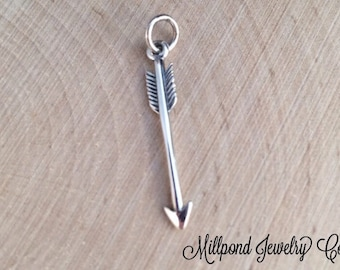 Arrow Charm, Arrow, Archery Charm, Archery Arrow, Sterling Silver Charm, Western Charm, Small Size, PS01107